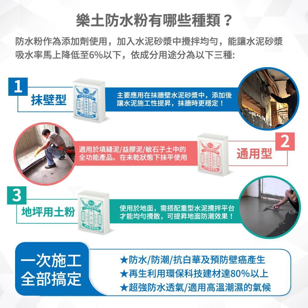 樂土防水粉分類說明